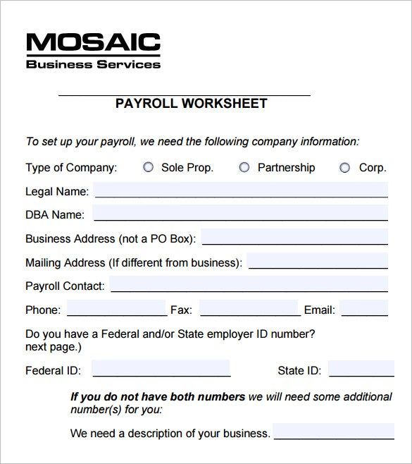 5 payroll worksheet templates free excel documents download