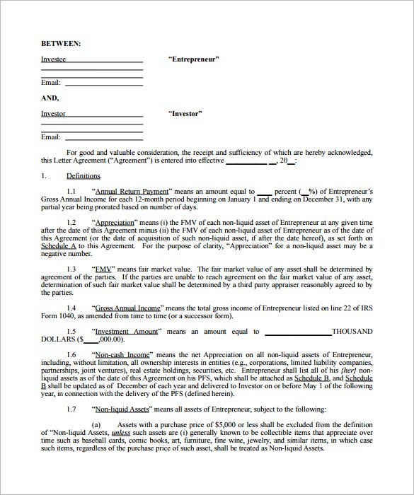 Investor Agreement Forms : Eightieth.Ga