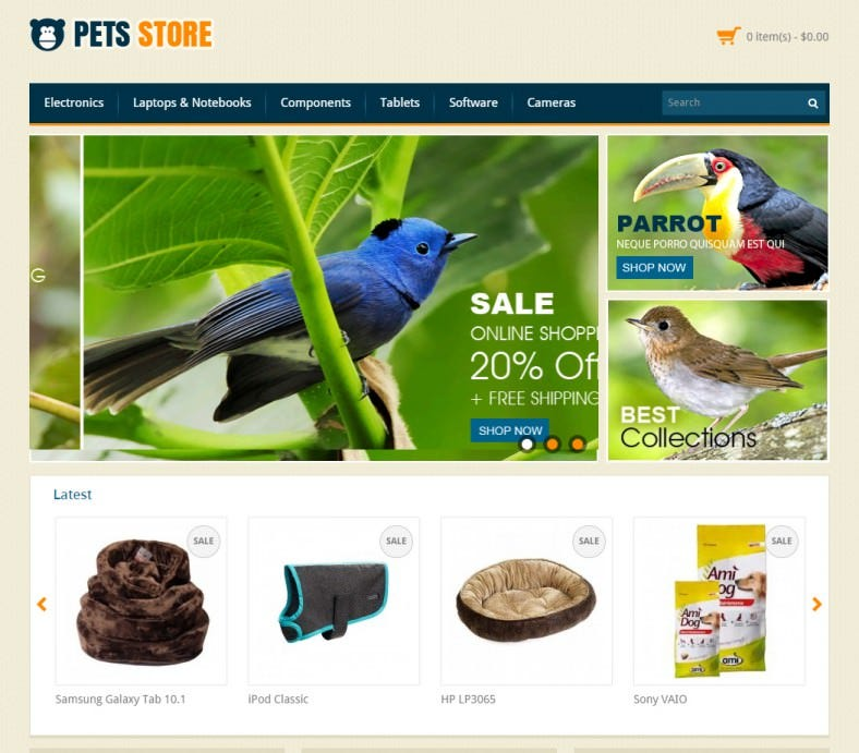 pet store opencart responsive theme 788x691