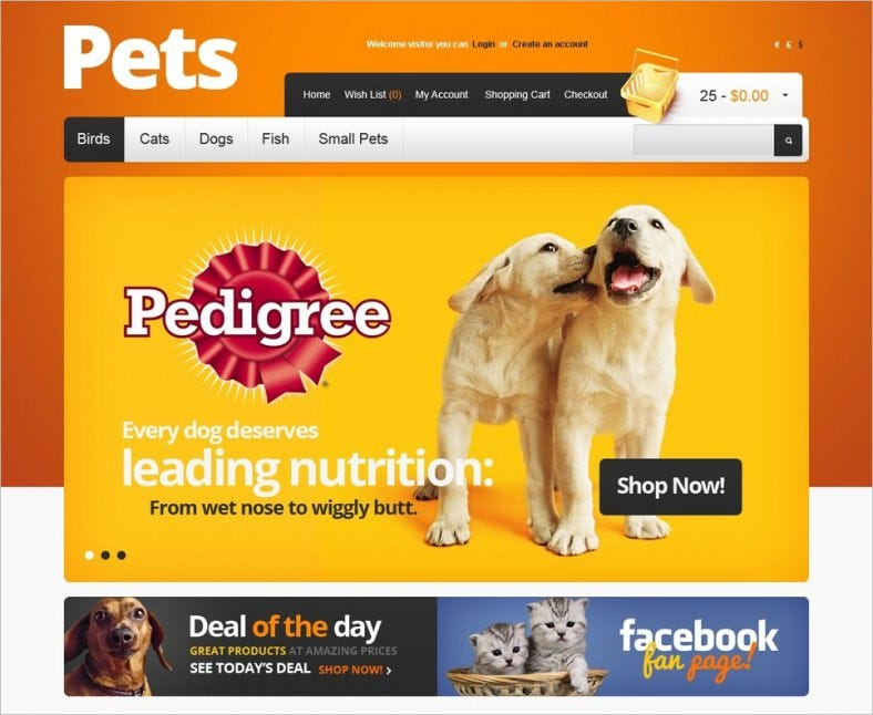 pet supplies opencart template 788x646