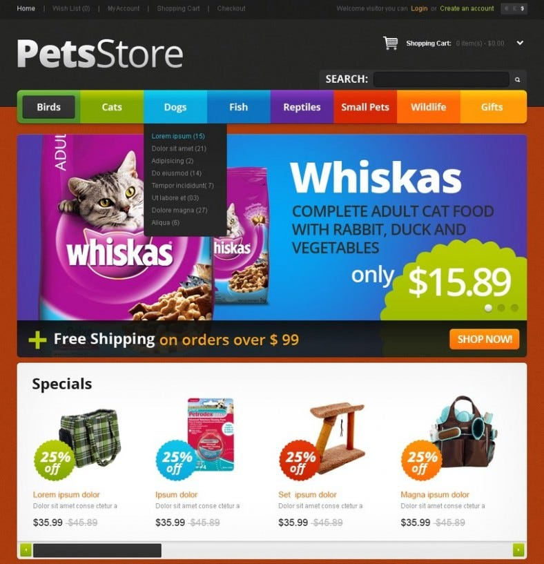 pets delight opencart template 788x817