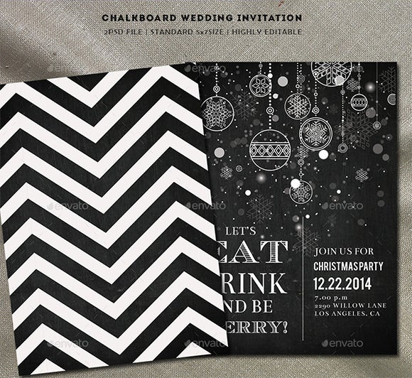 photoshop chalkboard christmas party invitation