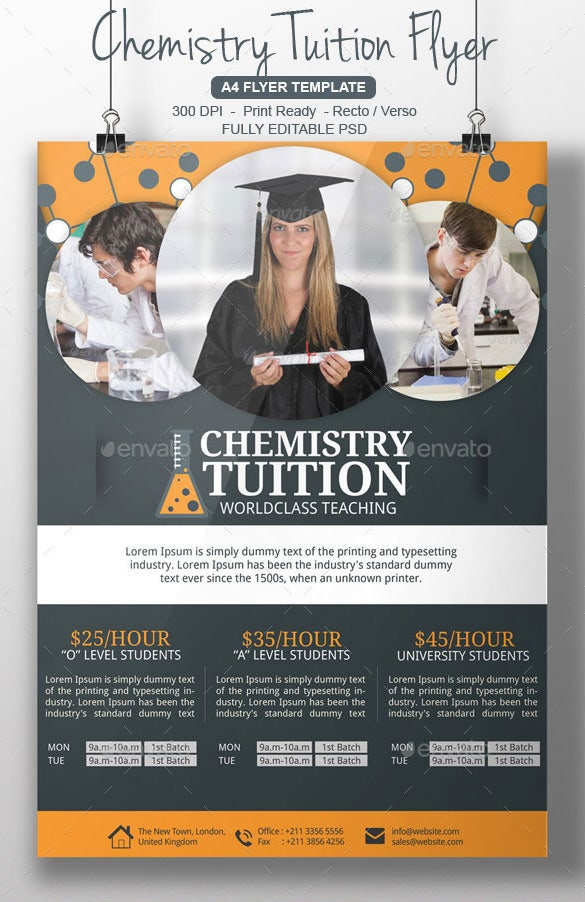photoshop chemistry tutor flyer template psd