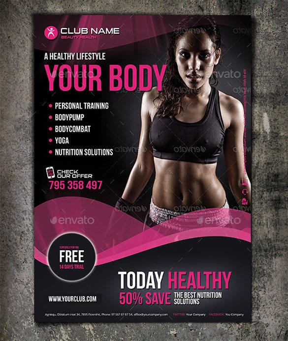 Photoshop Fitness Flyer Template U2013 $6  Free Fitness Flyer Templates