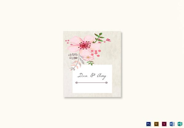 pink floral wedding place card template