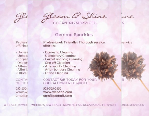 pink house cleaning services flyer