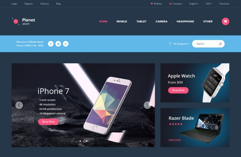 planet store ecommerce psd template 788x513