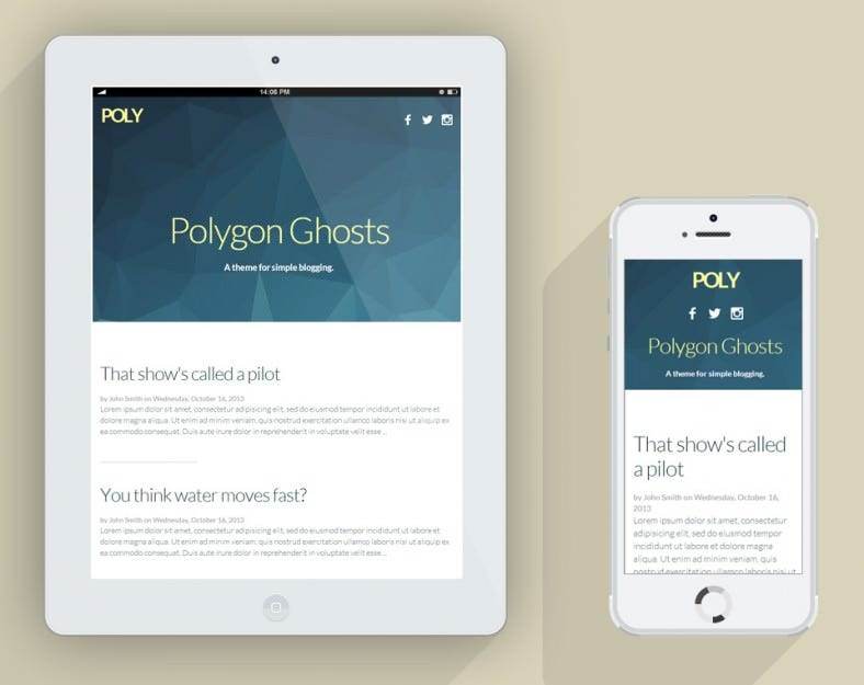 poly simple responsive ghost theme 788x625