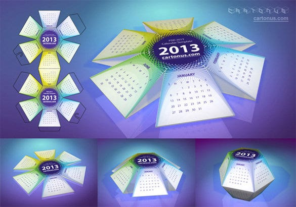 pop up psd calendar template