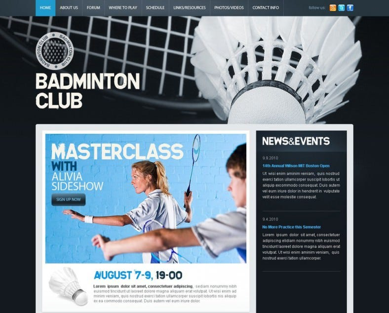 Popular Badminton PSD Website Template