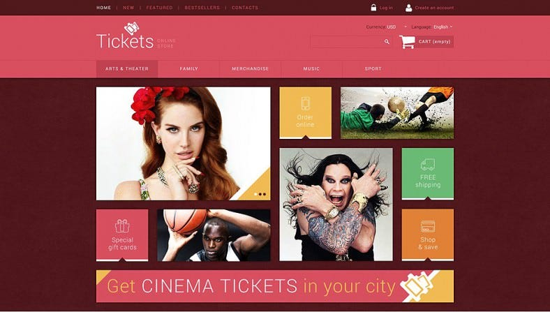 Popular OsCommerce Template for Tickets Website