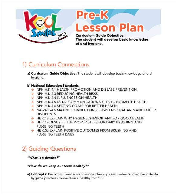 Preschool Lesson Plan Templates DOC PDF Excel Free - Pre k weekly lesson plan template