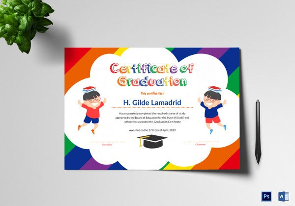 pre school graduation certificate in word