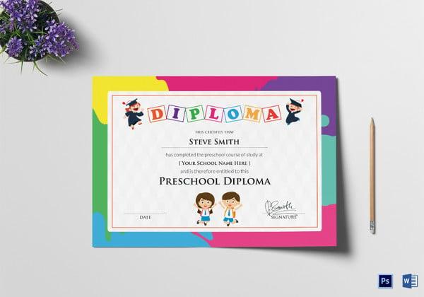 School certificate template 21 free word psd format download preschool diploma certificate template yadclub Choice Image