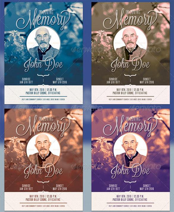 premium blue funeral program template 6