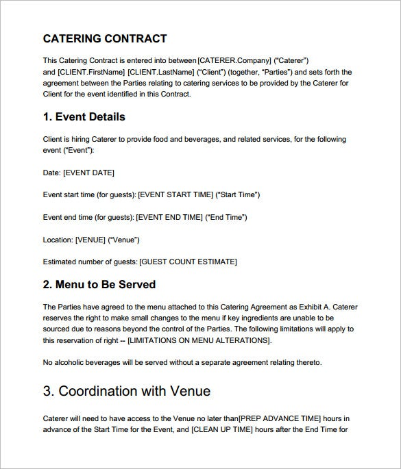 Catering Contract Templates  Free Word Pdf Documents