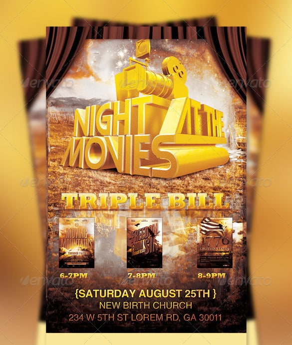 premium night movies church flyer template