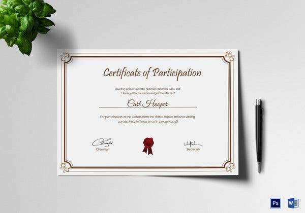 Premium Writing Contest Participation Certificate Template  Certificate Of Participation Template