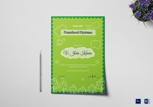 preschool award certificate template