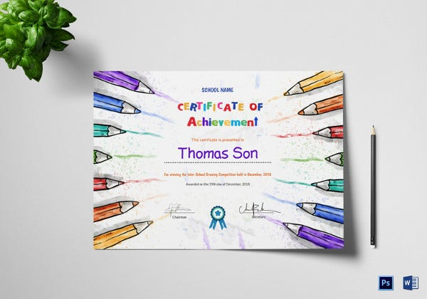 preschool certificate of achievement design
