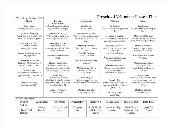 Preschool Summer Lesson Plan