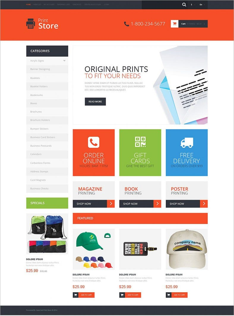 print shop opencart website templates themes free premium free premium templates. Black Bedroom Furniture Sets. Home Design Ideas