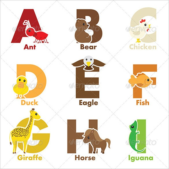printable alphabet animals