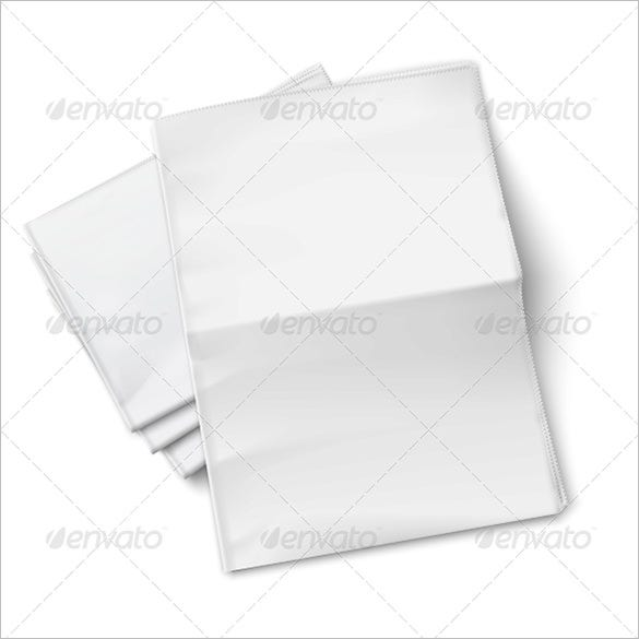 printable blank newspapers pile on white background