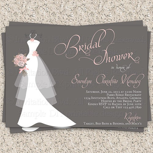 Bridal Shower Invitations Templates  Psd Invitations  Free