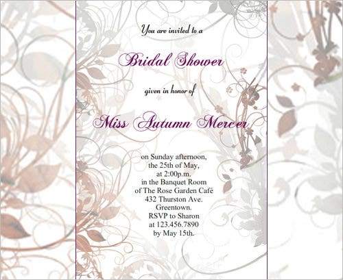 Printable Bridal Shower Invitation U2013 Floral Bridal Shower  Free Bridal Shower Invitations Templates