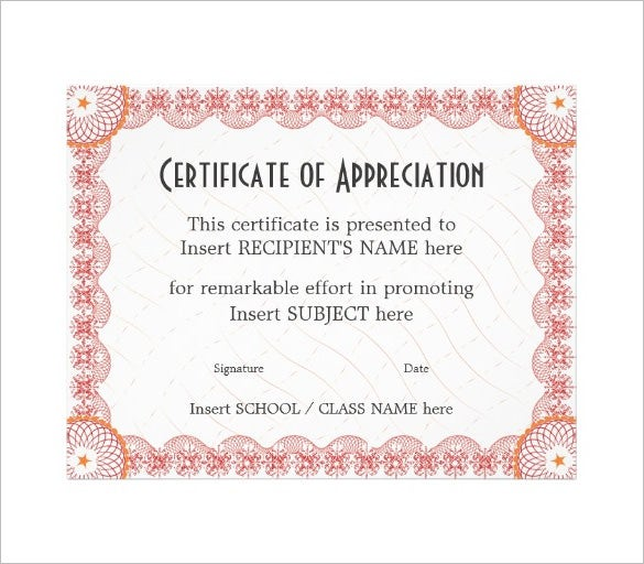 printable certificate of appreciation download