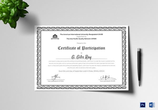 Participation Certificate Template 21 Free Word PDF PSD