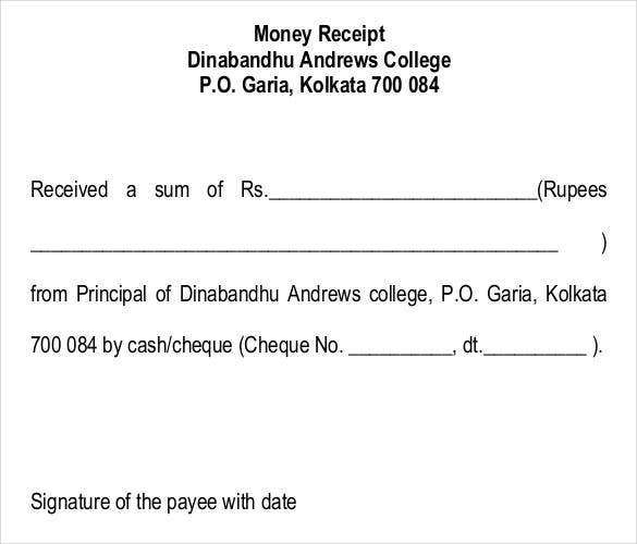Printable College Money Receipt Letter Format  Cheque Receipt Template