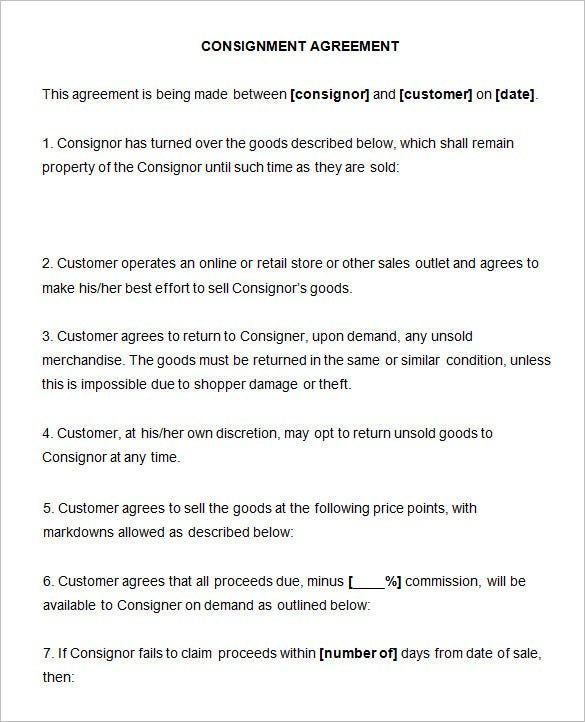 Consignment Contract Template   Free Word Pdf Documents Download