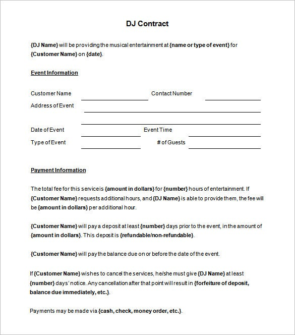printable dj contract template