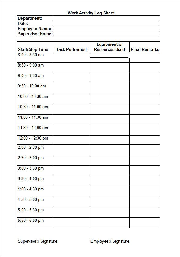 printable daily work log sheet template example