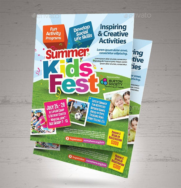 printable kids summer camp brochure template