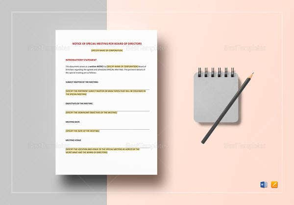 printable-notice-of-special-meeting-of-directors-template