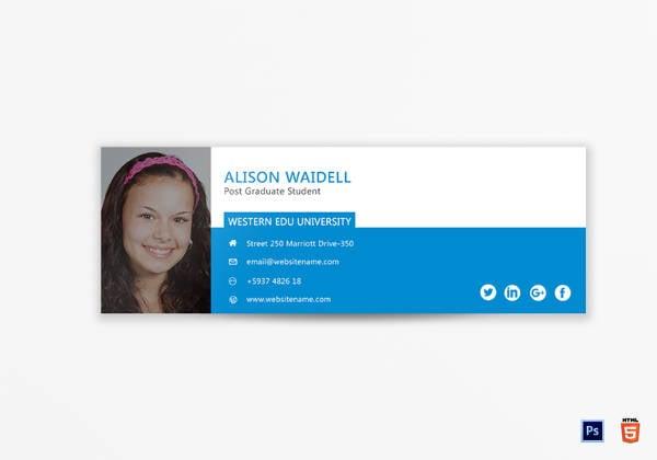 Printable Postgraduate Student Email Signature
