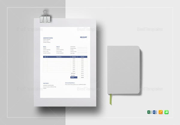 printable receipt template format