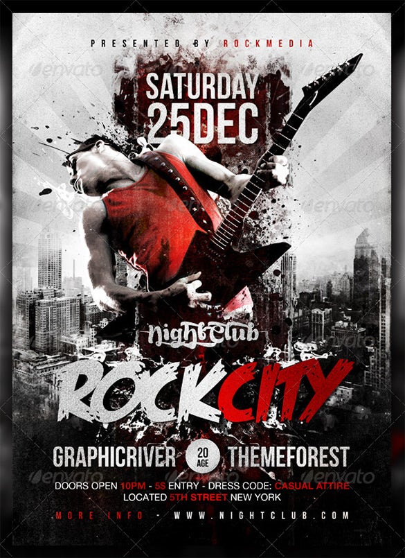 printable rock city concert poster psd template