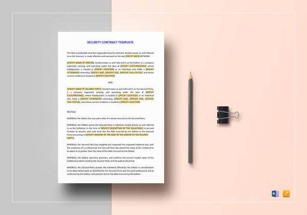 printable security contract template