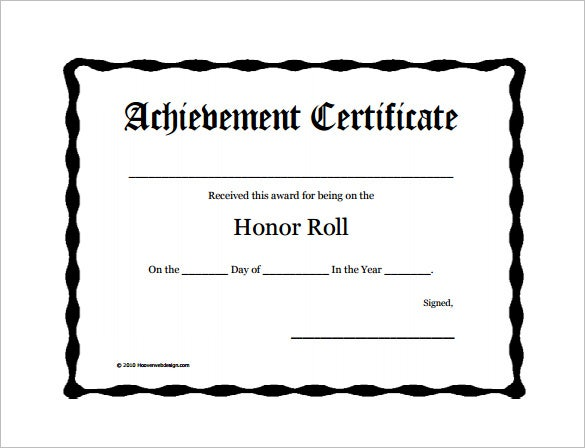Printable And Fillable Honor Roll Award Certificate  Free Award Certificate Templates Word