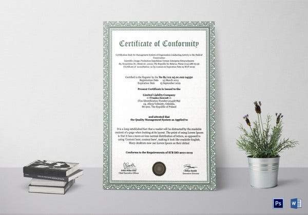 professional-conformity-certificate-template