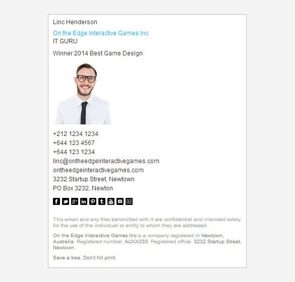16 corporate email signature templates free samples for Company email signature template