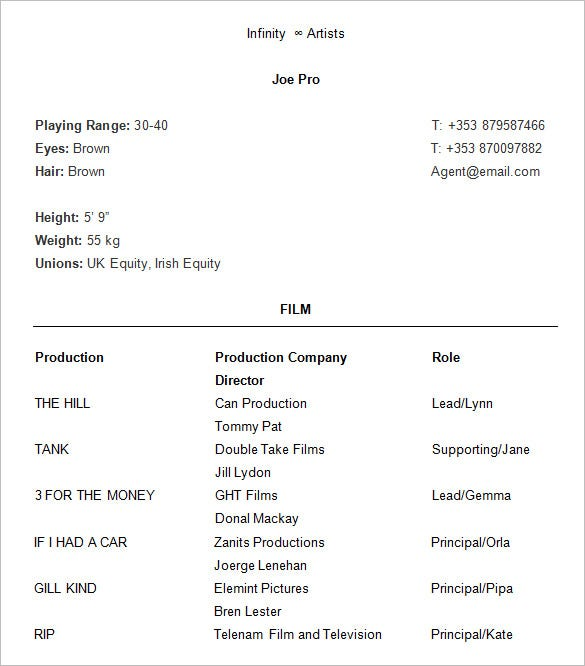 Proffesional Acting Resume  Actor Resume Template Word