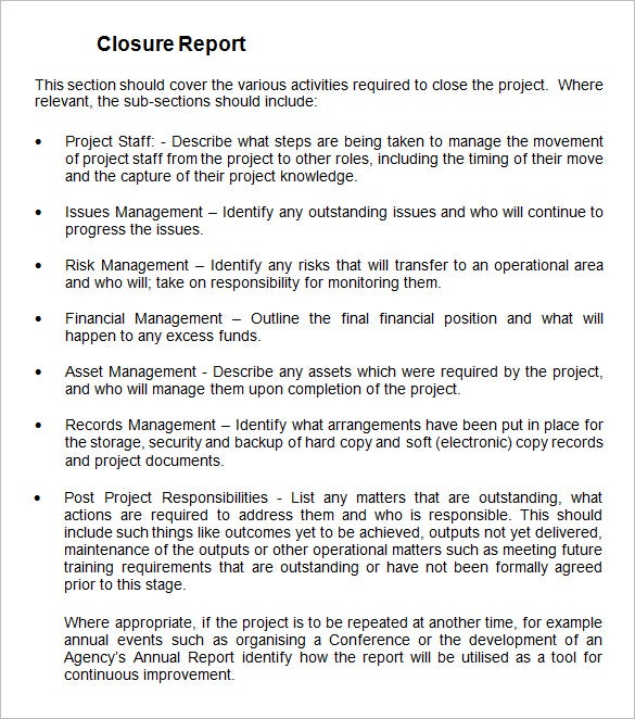 Project Closure Report Template   Free Word Documents Download