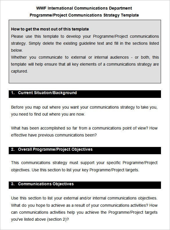project communications strategy template