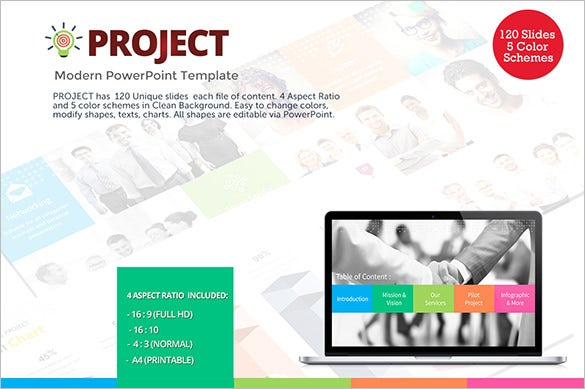 project modern powerpoint timeline template