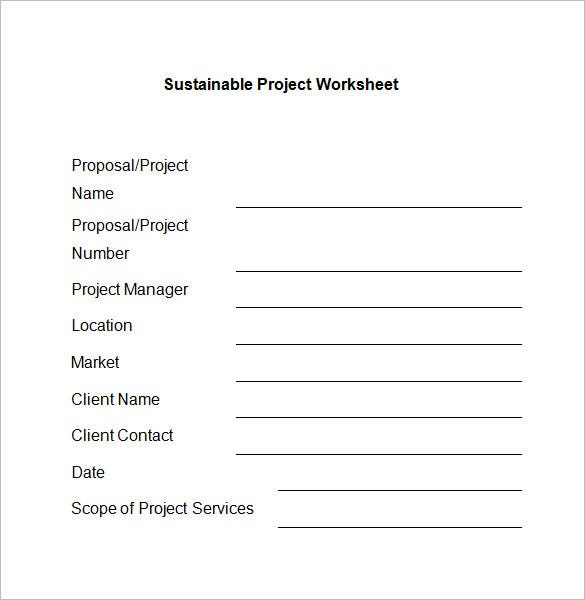 project worksheet template format